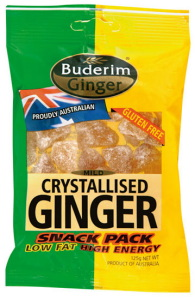 Buderim - Crystalised Ginger 125g Snack Pack - budarim, buderim ginger, buderim ginger bears, buderim ginger bears queensland, buderim ginger chocolate, buderim ginger distributors, buderim ginger kibbles, buderim sugar free ginger jam adelaide, fresh ginger, ginger candy from australia queensland, innovation of new ginger of buderim ginger, where to buy buderim ginger bears in adelaide, where to buy buderim ginger beer