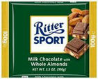 Ritter Sport - Milk Chocolate with Whole Almonds 100g